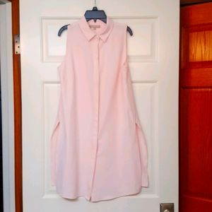 JOAN VASS PINK BUTTON FRONT TUNIC SIZE SMALL